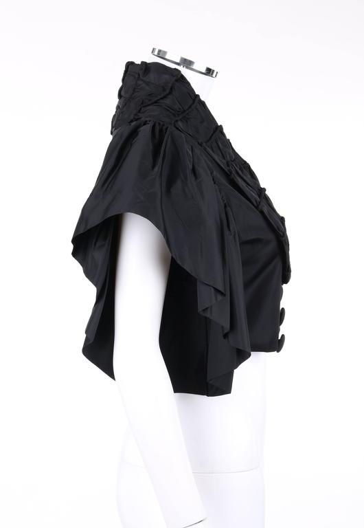 JEAN PATOU Adaptation c.1930's Black Silk Jacket Ruffled Capelet  3