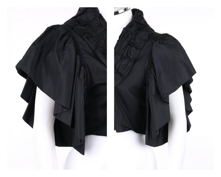 JEAN PATOU Adaptation c.1930's Black Silk Jacket Ruffled Capelet  7