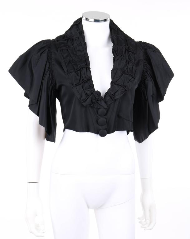 JEAN PATOU Adaptation c.1930's Black Silk Jacket Ruffled Capelet  2
