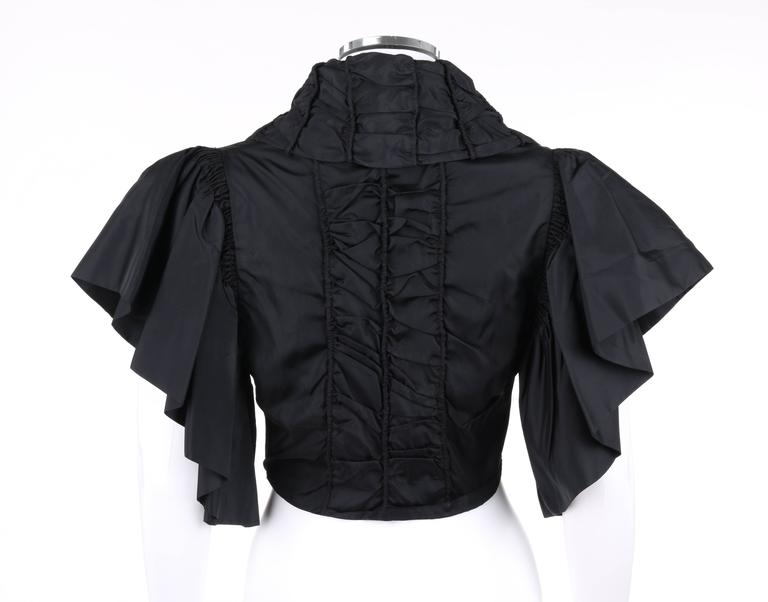 JEAN PATOU Adaptation c.1930's Black Silk Jacket Ruffled Capelet  4