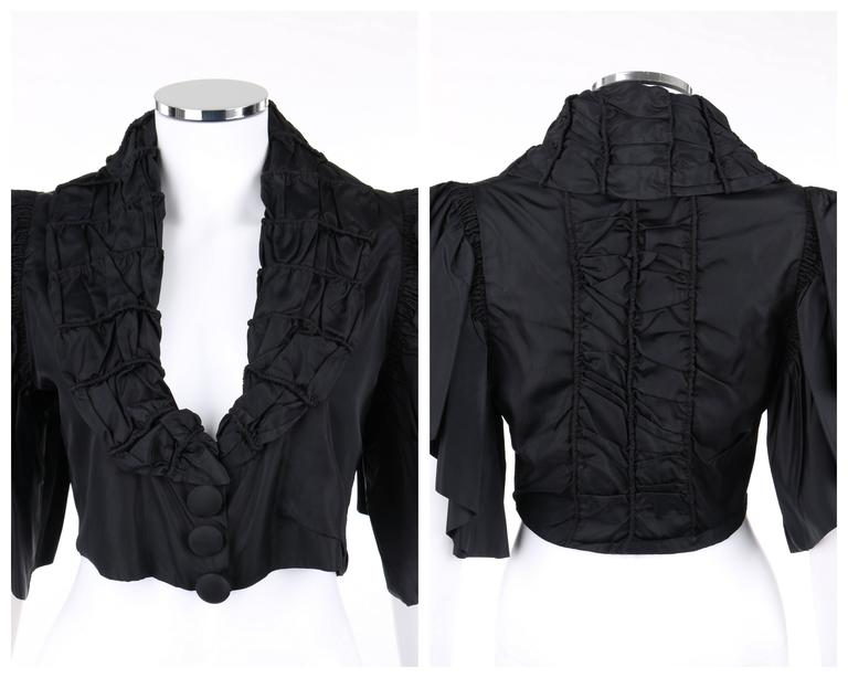 JEAN PATOU Adaptation c.1930's Black Silk Jacket Ruffled Capelet  6