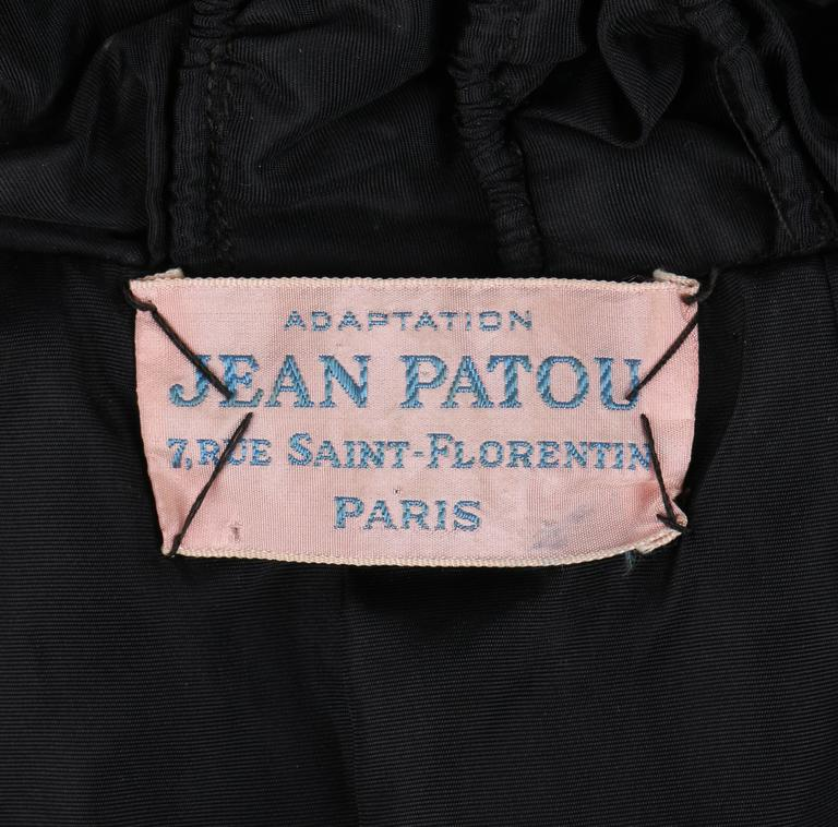 JEAN PATOU Adaptation c.1930's Black Silk Jacket Ruffled Capelet  9