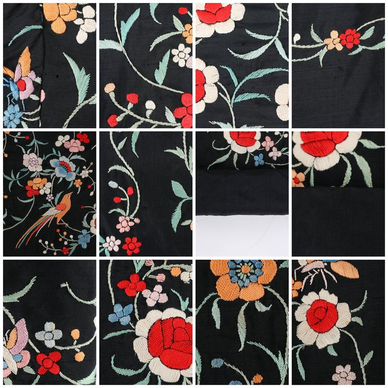 aa09beae98 COUTURE c.1920's Black Silk Multicolor Chinese Floral Embroidered Jacket  For Sale 5