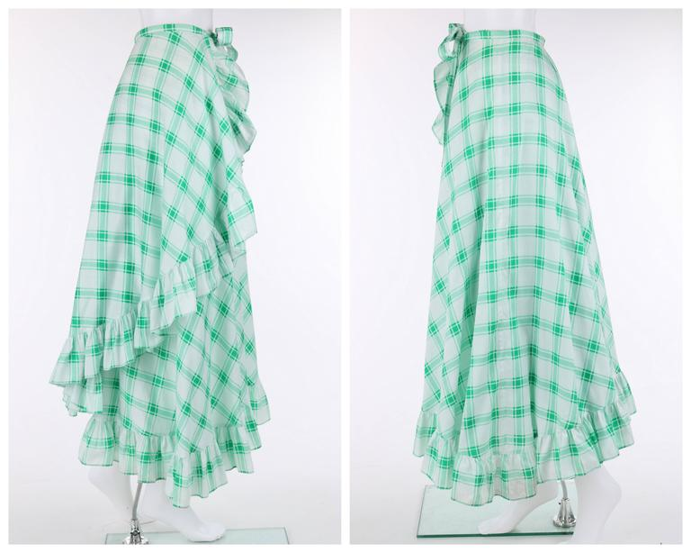 YVES SAINT LAURENT S/S 1978 YSL 2 Pc Green Plaid Peasant Blouse Wrap Skirt Set For Sale 1