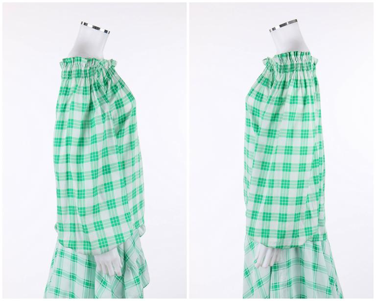 YVES SAINT LAURENT S/S 1978 YSL 2 Pc Green Plaid Peasant Blouse Wrap Skirt Set In Excellent Condition For Sale In Thiensville, WI
