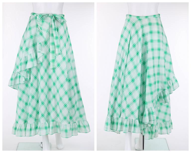 Women's YVES SAINT LAURENT S/S 1978 YSL 2 Pc Green Plaid Peasant Blouse Wrap Skirt Set For Sale
