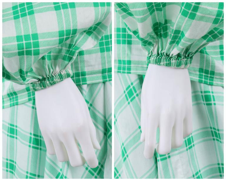 YVES SAINT LAURENT S/S 1978 YSL 2 Pc Green Plaid Peasant Blouse Wrap Skirt Set For Sale 2