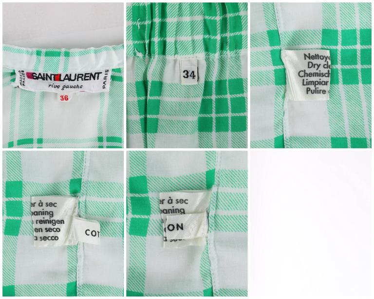 YVES SAINT LAURENT S/S 1978 YSL 2 Pc Green Plaid Peasant Blouse Wrap Skirt Set For Sale 4