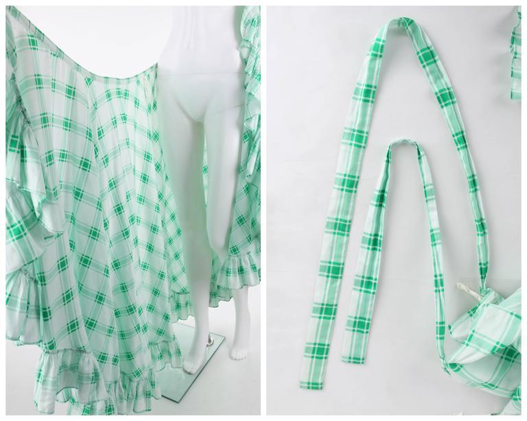 YVES SAINT LAURENT S/S 1978 YSL 2 Pc Green Plaid Peasant Blouse Wrap Skirt Set For Sale 3