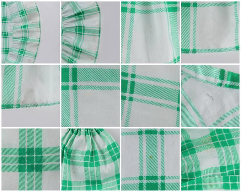 YVES SAINT LAURENT S/S 1978 YSL 2 Pc Green Plaid Peasant Blouse Wrap Skirt Set For Sale 5