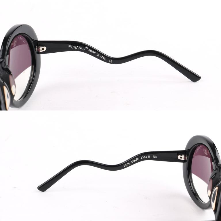 9b0a8f8c98c1c CHANEL S S 2007 Black Round Half-tint Sunglasses S5018 at 1stdibs