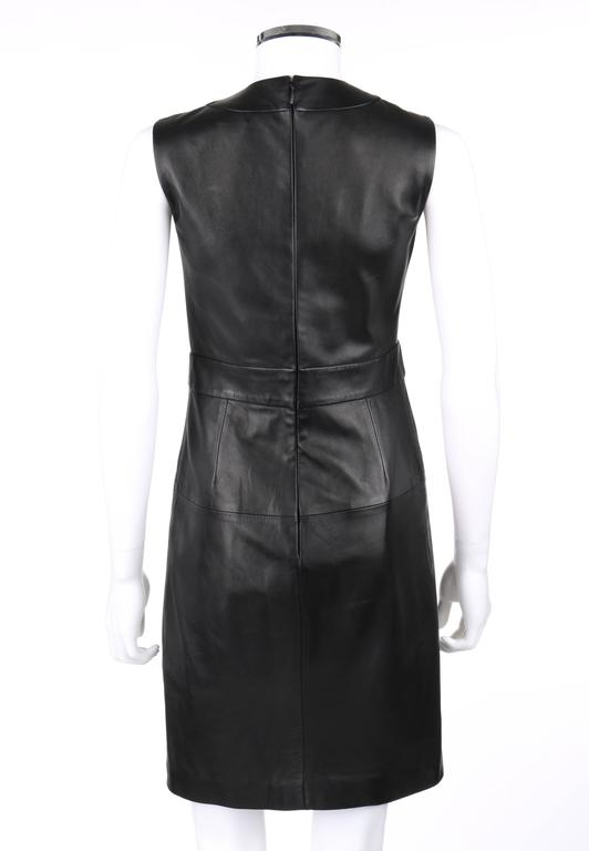 Women's GUCCI S/S 2015 Black Napa Leather Lattice Lace Up Grommeted Sheath Dress For Sale