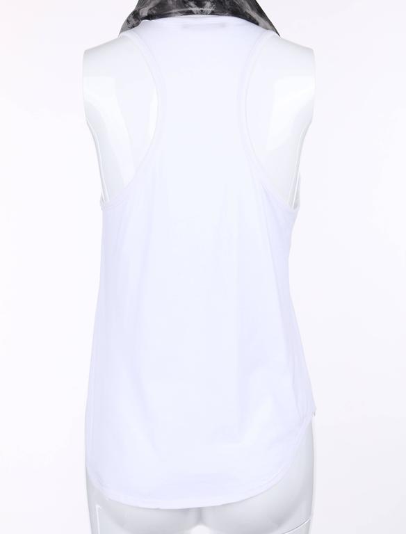 "ALEXANDER MCQUEEN c.2010 ""Tree Print"" Black Silk Chiffon Blouse White Tank Top For Sale 3"