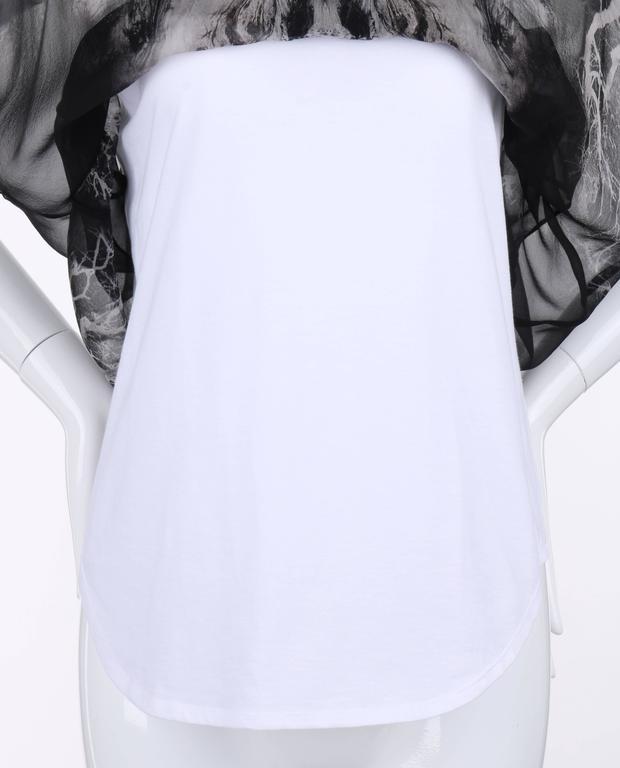 "ALEXANDER MCQUEEN c.2010 ""Tree Print"" Black Silk Chiffon Blouse White Tank Top For Sale 2"