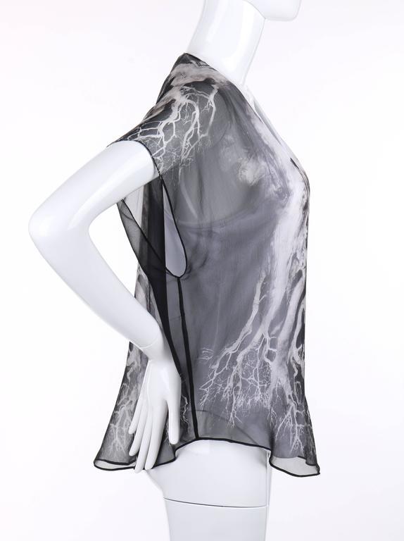"Gray ALEXANDER MCQUEEN c.2010 ""Tree Print"" Black Silk Chiffon Blouse White Tank Top For Sale"