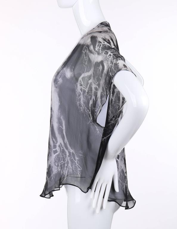 "ALEXANDER MCQUEEN c.2010 ""Tree Print"" Black Silk Chiffon Blouse White Tank Top 5"