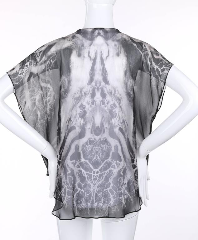 """ALEXANDER MCQUEEN c.2010 """"Tree Print"""" Black Silk Chiffon Blouse White Tank Top In Excellent Condition For Sale In Thiensville, WI"""