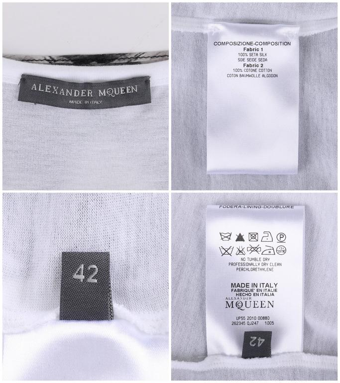 "ALEXANDER MCQUEEN c.2010 ""Tree Print"" Black Silk Chiffon Blouse White Tank Top For Sale 4"