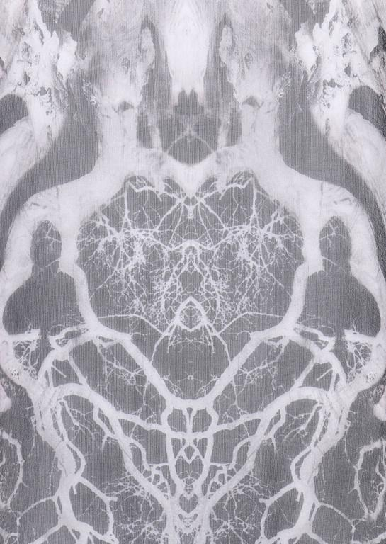"ALEXANDER MCQUEEN c.2010 ""Tree Print"" Black Silk Chiffon Blouse White Tank Top For Sale 1"