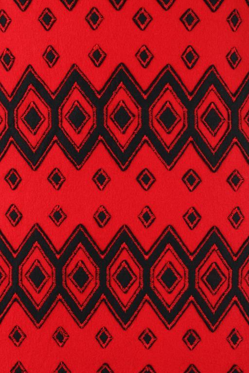 ANNE KLEIN c.1970's Red & Black Diamond Wool Felt A-line Skirt For Sale 3