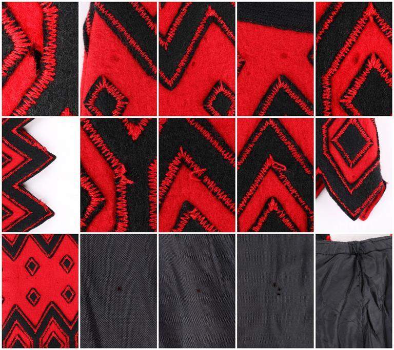 ANNE KLEIN c.1970's Red & Black Diamond Wool Felt A-line Skirt For Sale 5