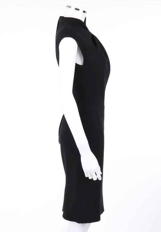 4816ed49b3 LANVIN A W 2009 Black Neoprene Stretch Twist Bow Sheath Cocktail Dress In  Excellent Condition