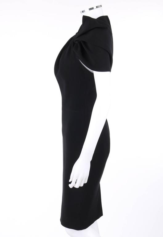 0e9e7fc260 LANVIN A W 2009 Black Neoprene Stretch Twist Bow Sheath Cocktail Dress For  Sale 1