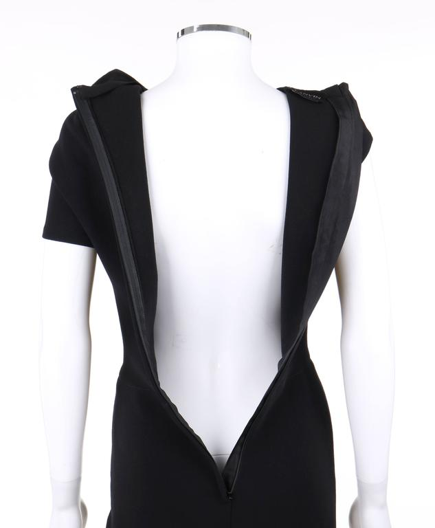 LANVIN A/W 2009 Black Neoprene Stretch Twist Bow Sheath Cocktail Dress 7