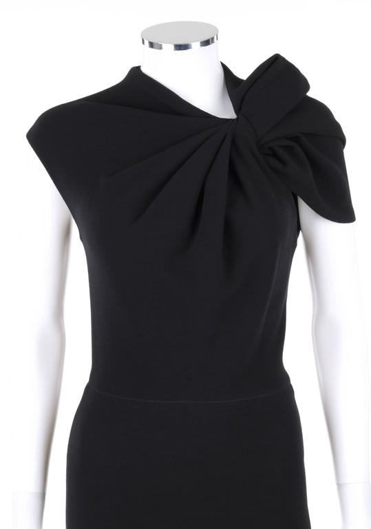 LANVIN A/W 2009 Black Neoprene Stretch Twist Bow Sheath Cocktail Dress 2