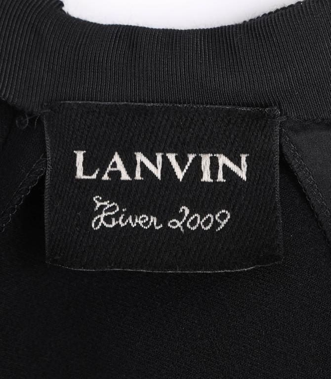 LANVIN A/W 2009 Black Neoprene Stretch Twist Bow Sheath Cocktail Dress 8