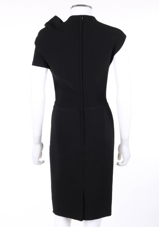 LANVIN A/W 2009 Black Neoprene Stretch Twist Bow Sheath Cocktail Dress 4