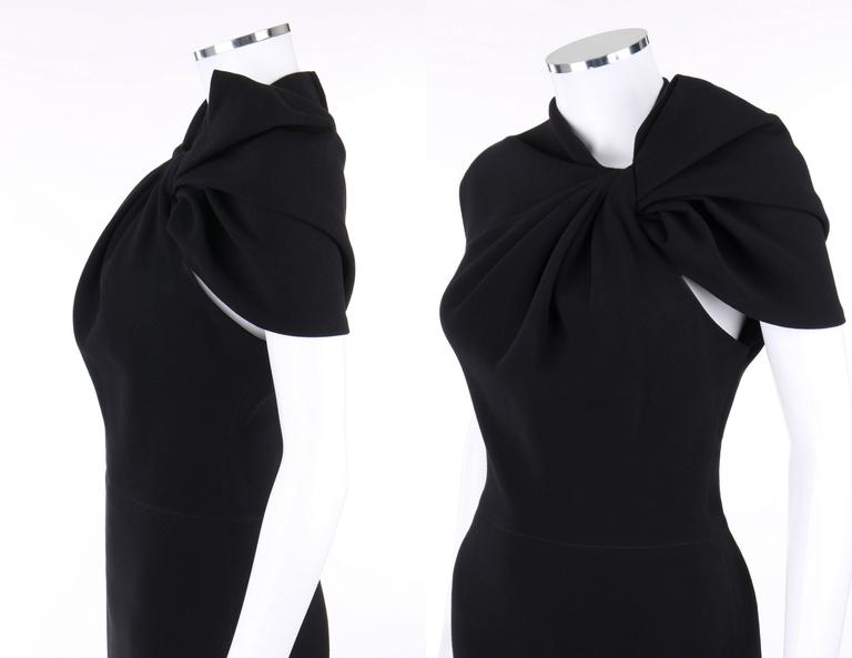 LANVIN A/W 2009 Black Neoprene Stretch Twist Bow Sheath Cocktail Dress 6