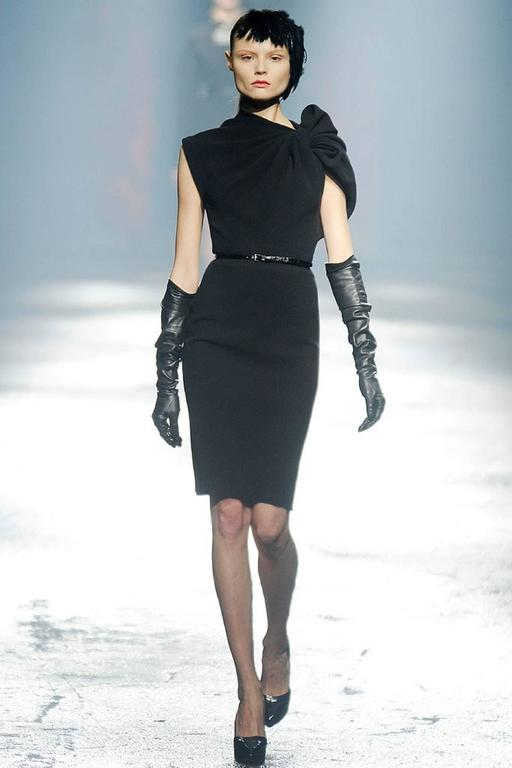 LANVIN A/W 2009 Black Neoprene Stretch Twist Bow Sheath Cocktail Dress 10