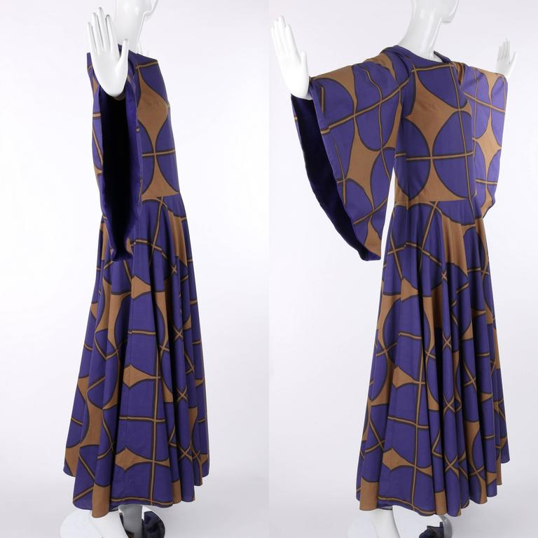 Women's MARIMEKKO c.1971 Purple & Brown Cotton Circle Windowpane Print Maxi Dress For Sale