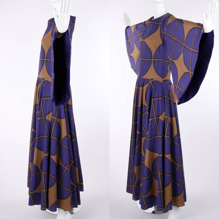MARIMEKKO c.1971 Purple & Brown Cotton Circle Windowpane Print Maxi Dress For Sale 2