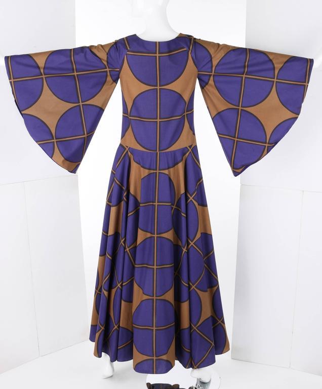 MARIMEKKO c.1971 Purple & Brown Cotton Circle Windowpane Print Maxi Dress For Sale 1