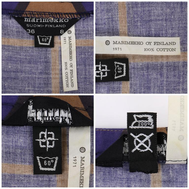 MARIMEKKO c.1971 Purple & Brown Cotton Circle Windowpane Print Maxi Dress For Sale 4