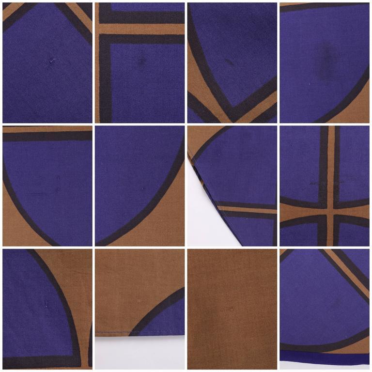 MARIMEKKO c.1971 Purple & Brown Cotton Circle Windowpane Print Maxi Dress For Sale 5