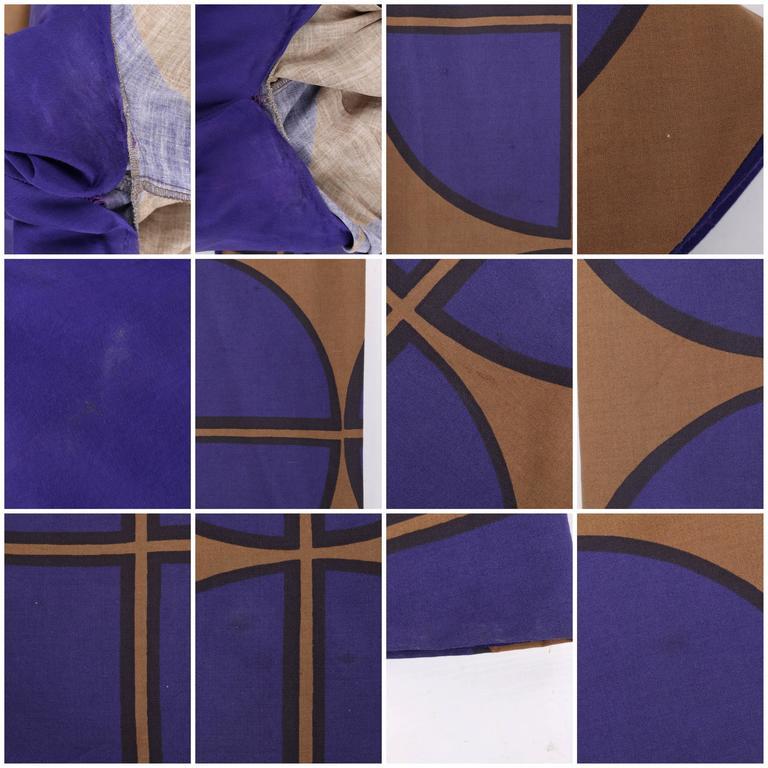 MARIMEKKO c.1971 Purple & Brown Cotton Circle Windowpane Print Maxi Dress For Sale 6