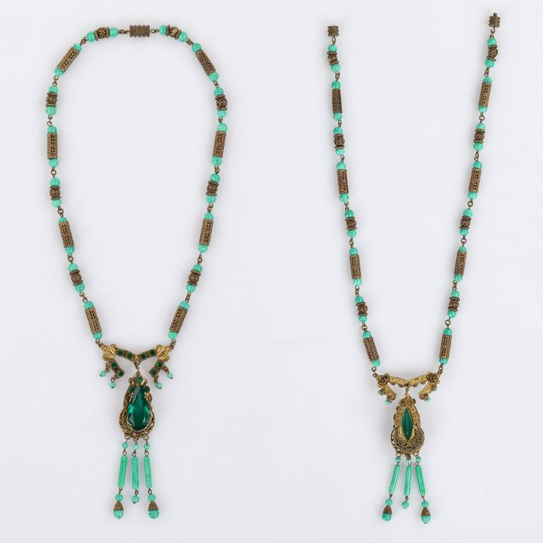ART DECO c.1920's Ornamental Brass Jade Czech Peking Glass Pendant Necklace In Excellent Condition For Sale In Thiensville, WI