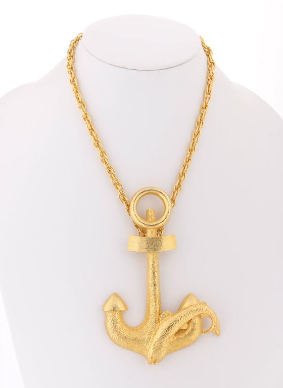 HATTIE CARNEGIE c.1970's Large Gold Fish & Anchor Pendant Statement Necklace 2