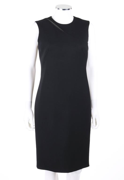 VERSACE A/W 2009 Black Metal Mesh Inset Sheath Cocktail Dress 3