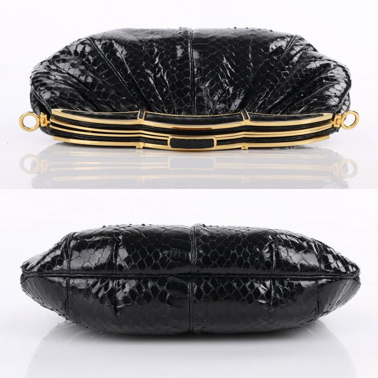 JUDITH LEIBER c.1980's Black Snakeskin Gold Scalloped Frame Evening Bag Purse In Excellent Condition For Sale In Thiensville, WI