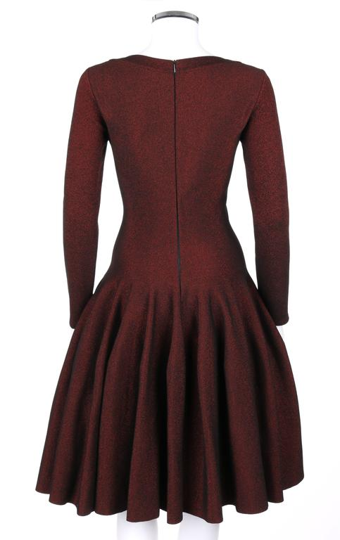 ALAIA Paris Black & Red Metallic Knit Fit & Flare Long Sleeve Cocktail Dress NWT 4