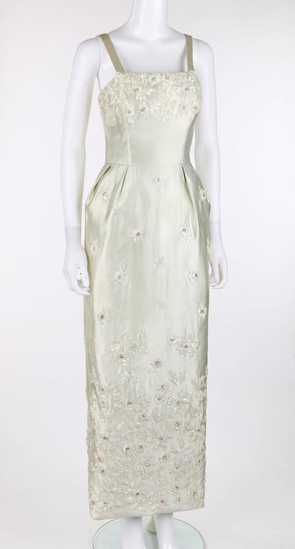 651e2d6c44e66 GIVENCHY c.1960's Haute Couture Soft Green Silk Satin Floral Evening Gown