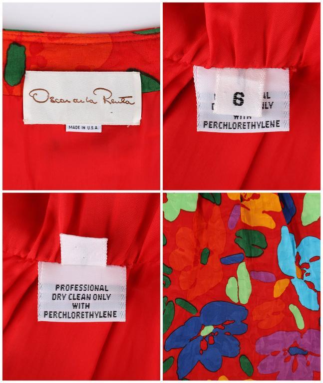 OSCAR DE LA RENTA c.1990's Red Multicolor Floral Print Button Front Day Dress For Sale 5