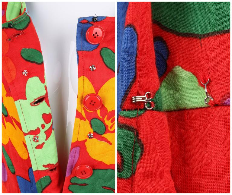 OSCAR DE LA RENTA c.1990's Red Multicolor Floral Print Button Front Day Dress For Sale 4