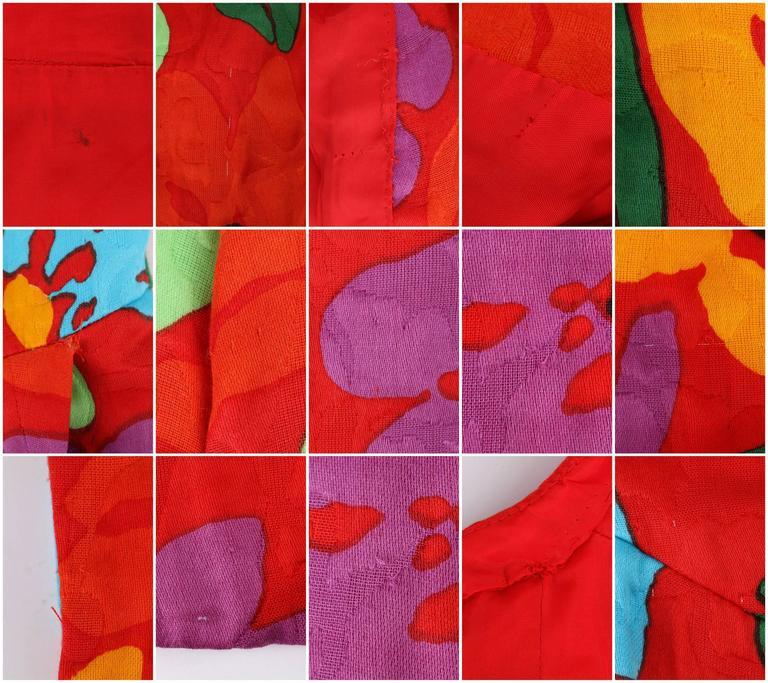 OSCAR DE LA RENTA c.1990's Red Multicolor Floral Print Button Front Day Dress For Sale 6