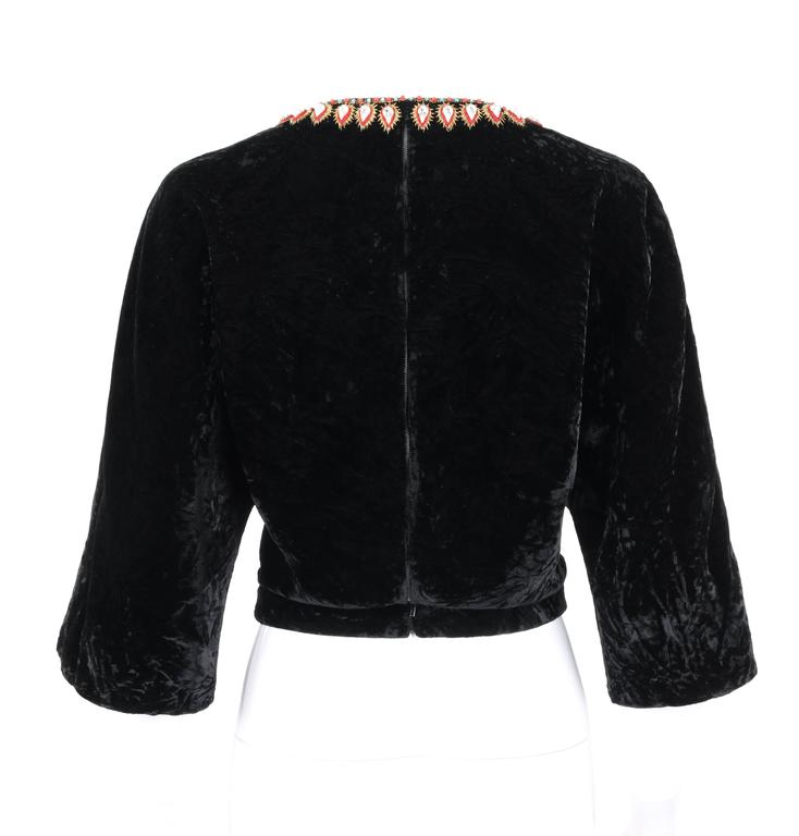 Women's GUCCI c.1970s Black Crushed Velvet Bead Embellished Bohemian Cropped Blouse RARE For Sale