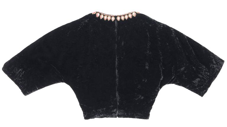 GUCCI c.1970s Black Crushed Velvet Bead Embellished Bohemian Cropped Blouse RARE For Sale 2